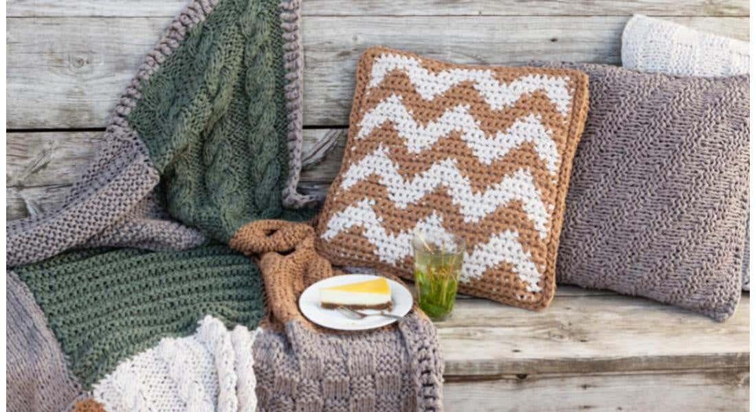 Learn tapestry crochet with this eye-catching herringbone cushion