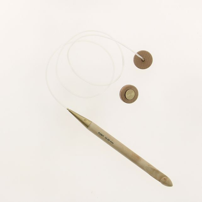 Tunisian Afghan maple crochet hook 12 mm - set with interchangeable cable and knobs