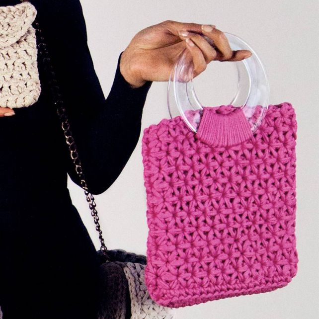 DIY Crochet Kit Marbella Bag RibbonXL Bubblegum Pink