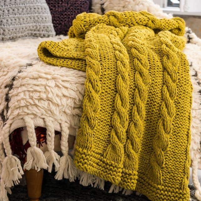 DIY Knitting Pattern RibbonXL Cable Throw