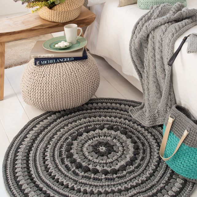 DIY Crochet Island Rug Kit RibbonXL Silver Grey