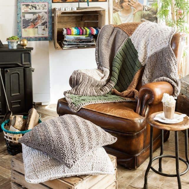 DIY Knitting Pattern Comfy Plaid Natural Home