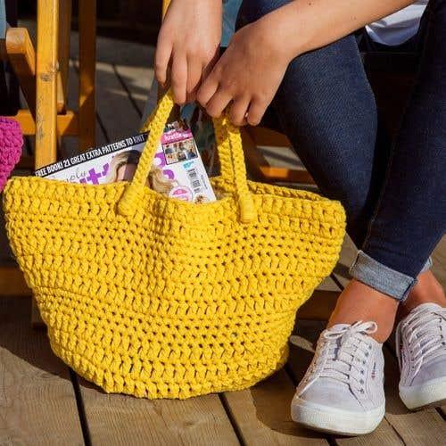 DIY Crochet Kit Avila Beachbag RibbonXL Lemon Yellow