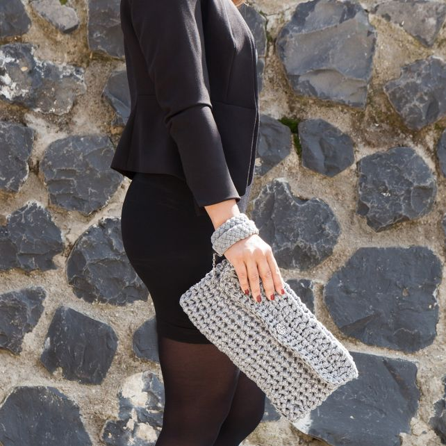 DIY Crochet Kit Clutch Charly Silver Glitter