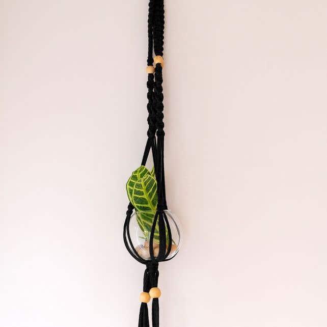 DIY Kit Zpagetti Macramé Hanging Basket Cotton Black Night