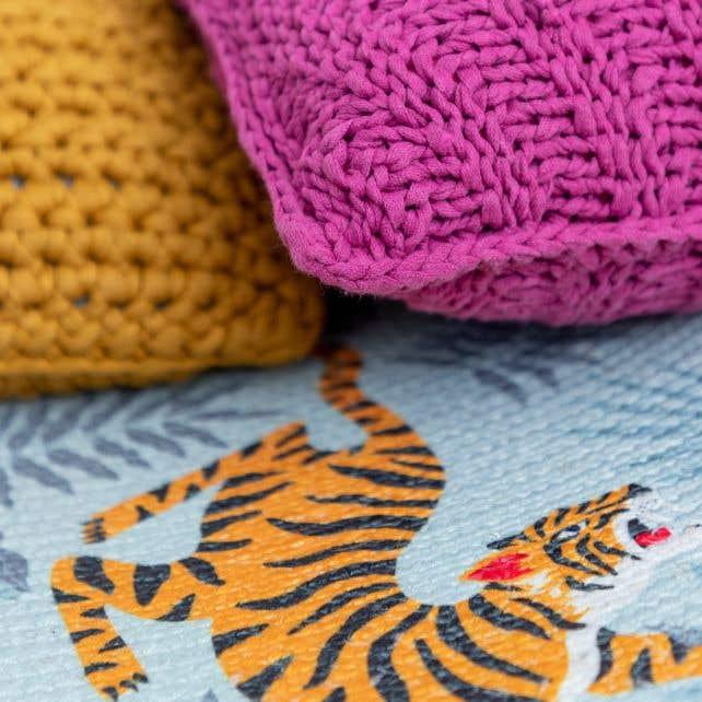 DIY Knitting Kit Cushion Bulky Textures Crazy Plum