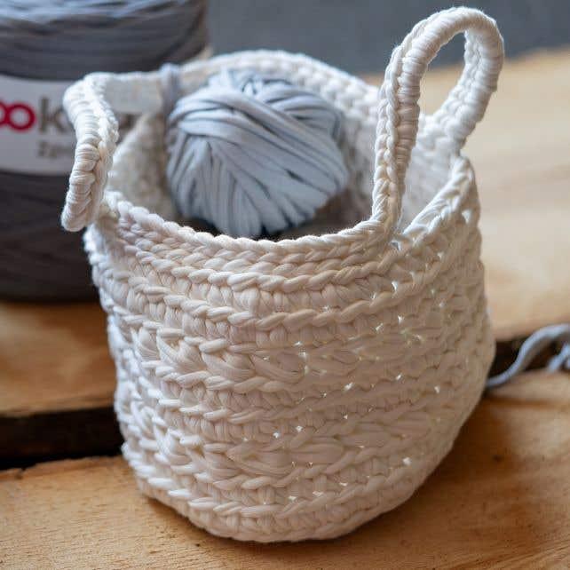 DIY Crochet Kit Zpagetti Basket Revisto Off-White
