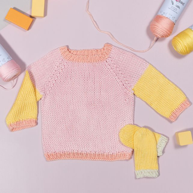 DIY knitting kit baby sweater eucalyps pastello
