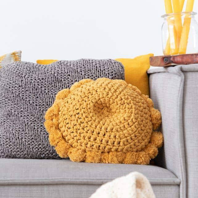 DIY Crochet Kit Round Cushion Venice Harvest Ocre
