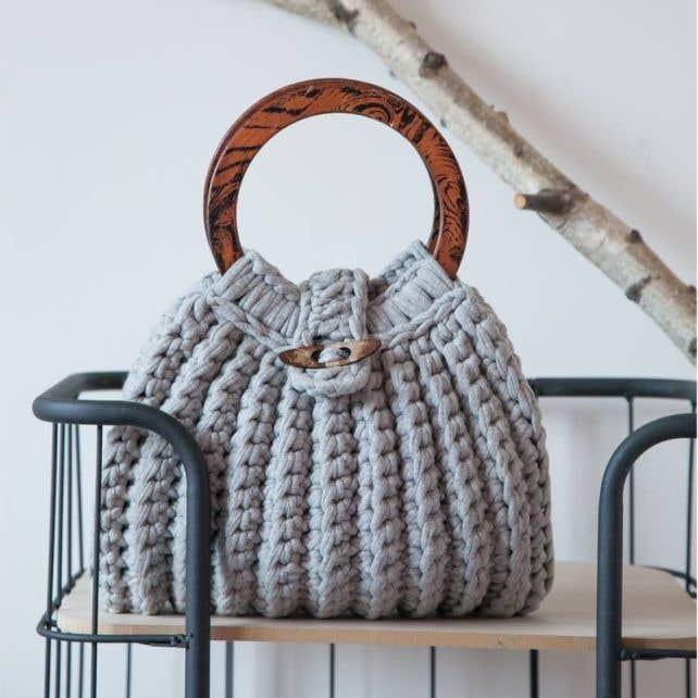DIY Crochet Kit Zpagetti Bag Firenze Grey