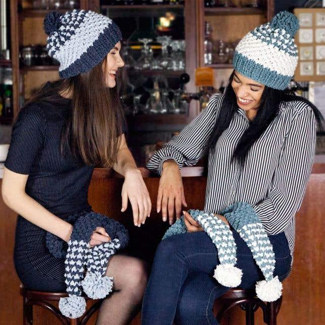 DIY Breipatroon Beanie & Sjaal met Pom-poms