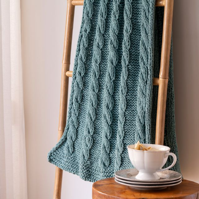 DIY Knitting Kit RibbonXL Cable Throw Emerald Splash