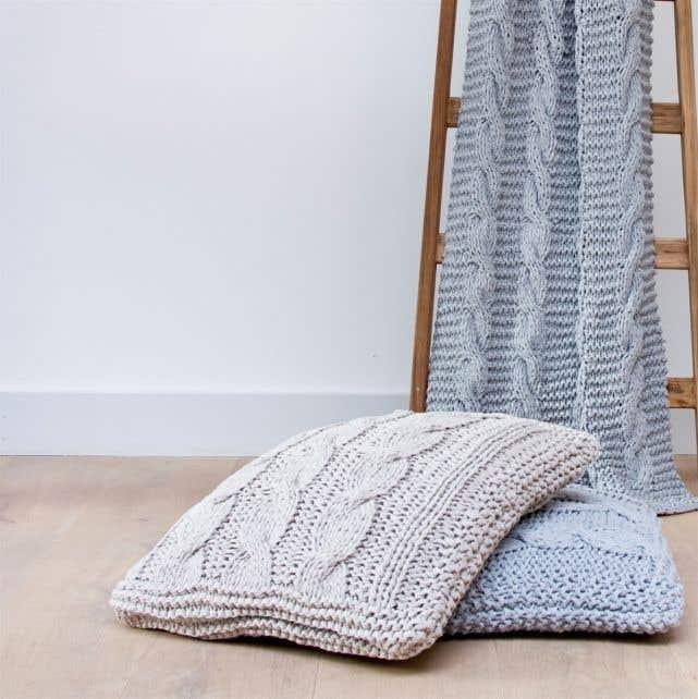 DIY Knitting Kit RibbonXL Cable Cushion Silver Grey