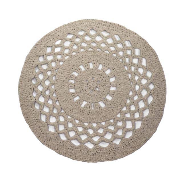 DIY Set Crochet Round Rug RibbonXL Earth Taupe