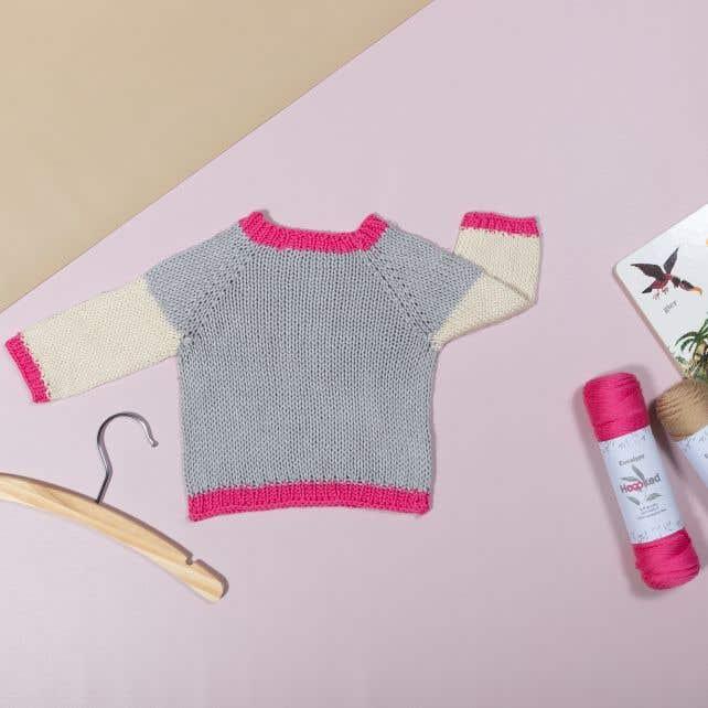DIY knitting kit baby sweater eucalyps grigio