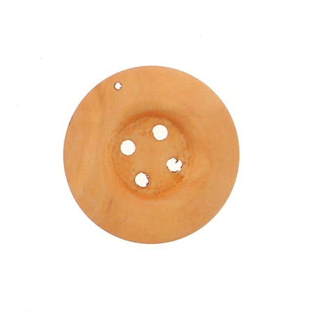 Wooden Button Round Medium Brown ( 4cm )