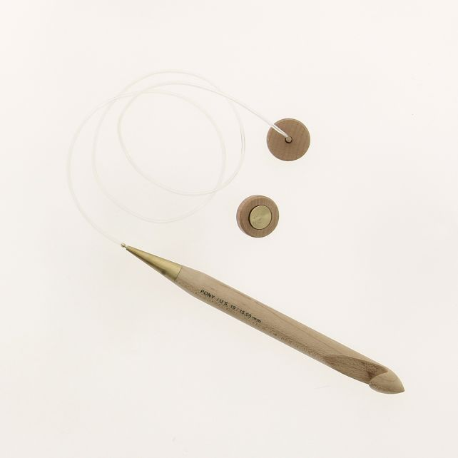 Tunisian Afghan maple crochet hook 15 mm - set with interchangeable cable and knobs