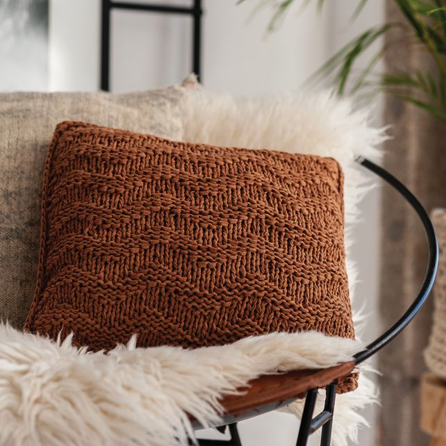 DIY Breipakket Kussen Bulky Textures Caramel Brown