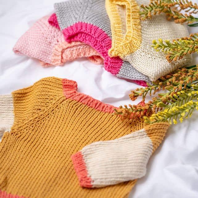 DIY knitting pattern baby sweater Trevi