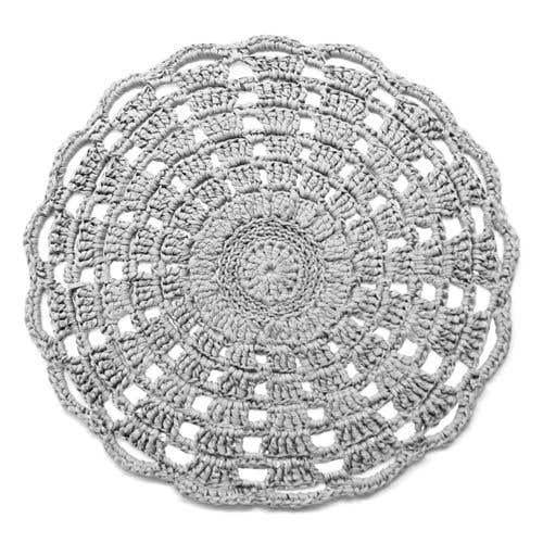 DIY Crochet Kit RibbonXL Mandala Rug Silver Grey