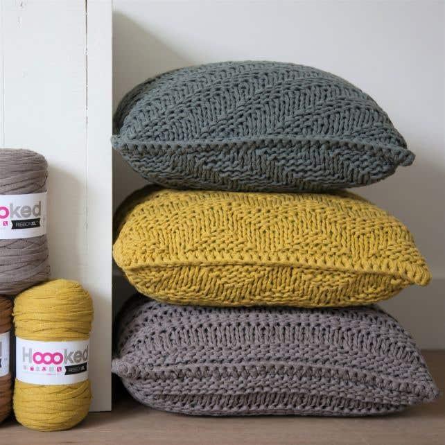 DIY Knitting Kit Cushion Bulky Textures Spicy Ocre