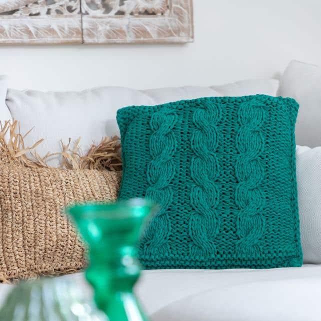 DIY Knitting Pattern RibbonXL Cable Cushion