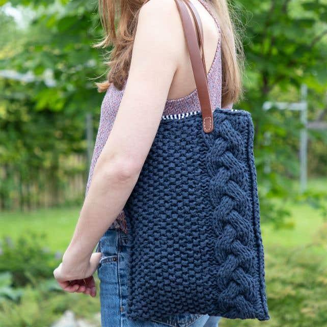 DIY Knitting Pattern Cable Totebag Ginza