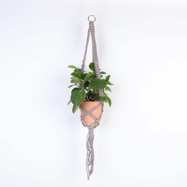 DIY Kit Macrame Hanging Basket Jute Cinnamon Taupe