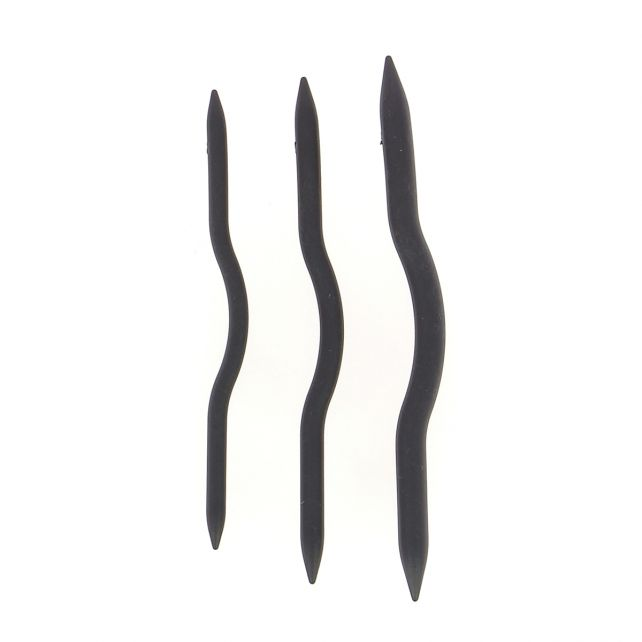 Cable needles curved set of 3 - black