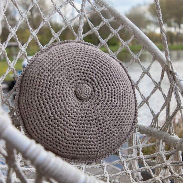 DIY Crochet Kit Round Cushion Estoril Taupe