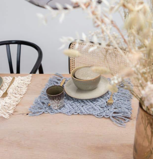 DIY Kit de Macramé Mantel Individual Ponza Grey Mist