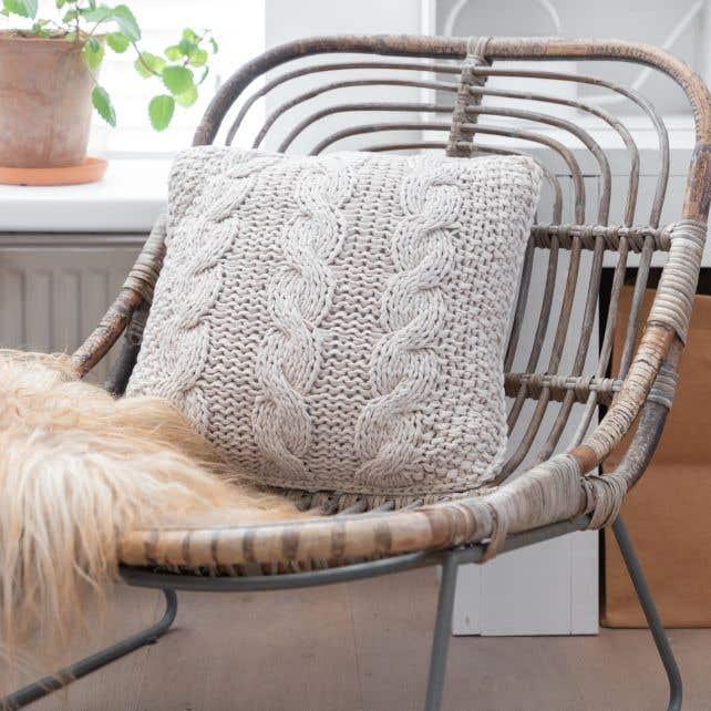 DIY knitting kit Cable Cushion Cover Rio Sandy Ecru