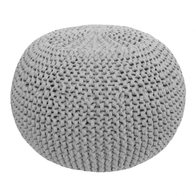 DIY Knitting Kit RibbonXL Pouf Silver Grey