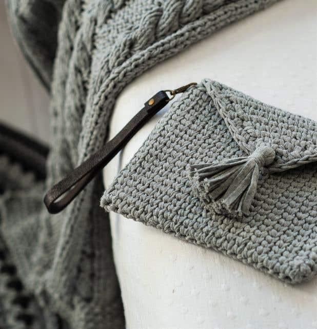 DIY Haakpakket Knit Look Clutch Silver Grey