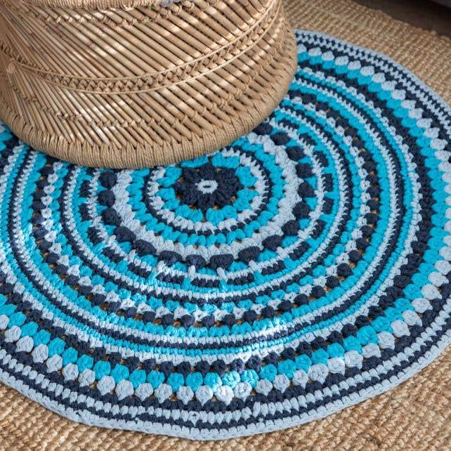 DIY Crochet Island Rug Kit RibbonXL Sea Blue