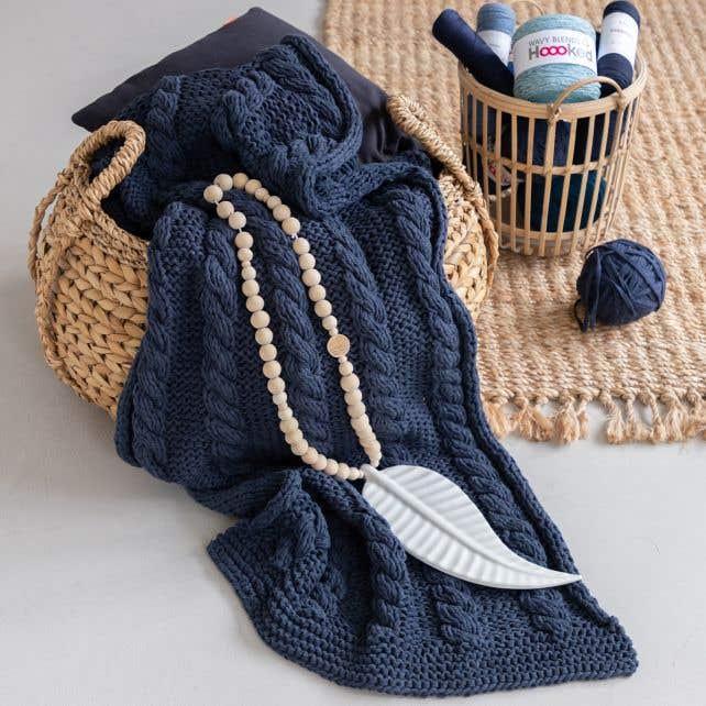 DIY Knitting Kit RibbonXL Cable Throw Riverside Jeans