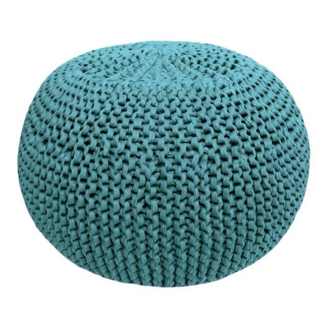 DIY Knitting Kit RibbonXL Pouf Emerald Splash