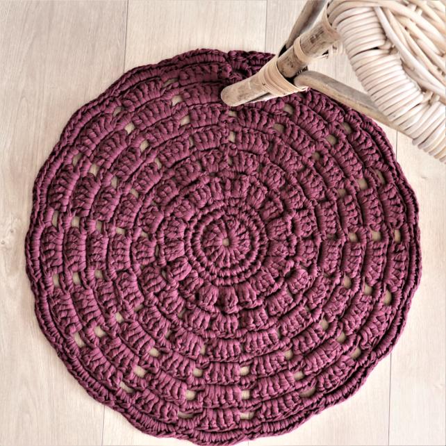DIY Crochet Kit RibbonXL Mandala Rug Maroon Rust