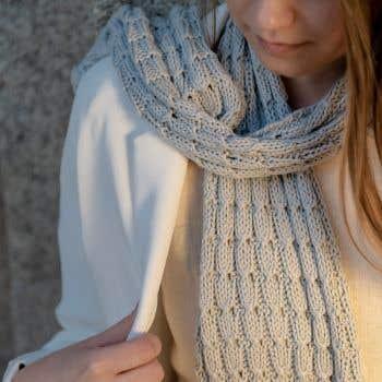 DIY Knitting Kit Scarf SpringBell Grey