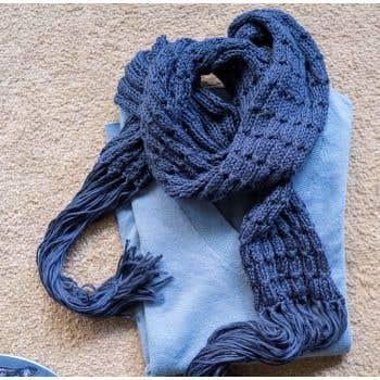 DIY Knitting Kit Scarf SpringBell Blue