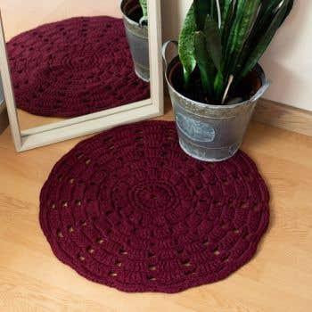 DIY Häkelset RibbonXL Mandala Teppich Maroon Rust