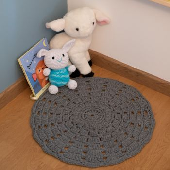 DIY Häkelset RibbonXL Mandala Teppich Stone Grey
