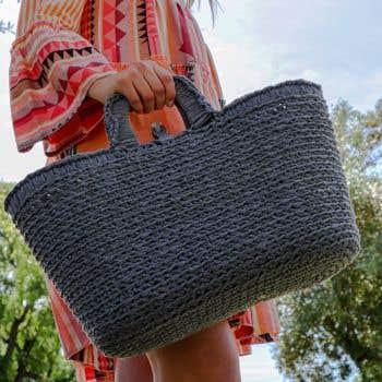 DIY Crochet Kit Shopper Stone Grey