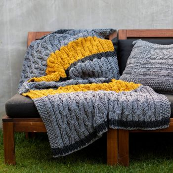 DIY Strickset Decke Sagres - Ocre