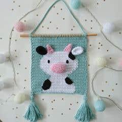 DIY Crochet Pattern Wallhanger Cow Kirby