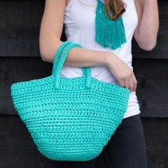 DIY Crochet Kit Avila Beachbag RibbonXL Happy Mint