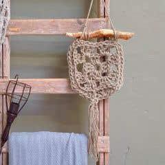 DIY Crochet Kit Wallhanger Elx Jute Vanilla Cream