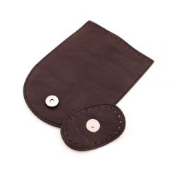 Leather Look Flap with Magnetic button Brown