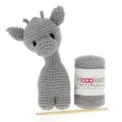DIY Crochet Kit Giraffe Ziggy Eco Barbante Gris