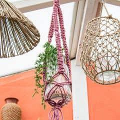 DIY Kit Macrame Hanging Basket Jute Tea Rose